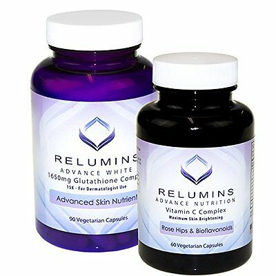 Relumins Advanced White Dermatologic Set - 1650mg Glutathione Complex and C with