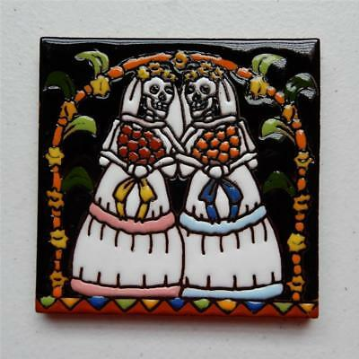 "Talavera Tile, ""Day of the Dead Catrinas Getting Married"" Made in Puebla"