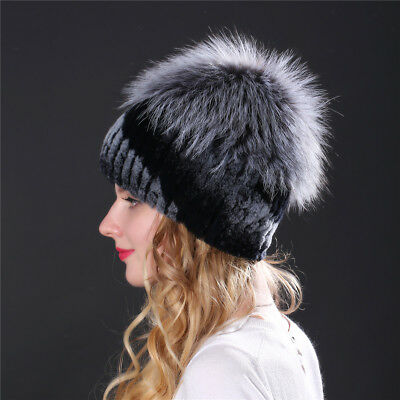 1dffef73356 LIYAFUR New Real Genuine Rex Rabbit Fur Hat With Fox Fur Cover Cap Beanie