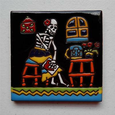 "Talavera Tile, ""Day of the Dead Catrina Waiting for Lovers Call"" Made in Puebla"