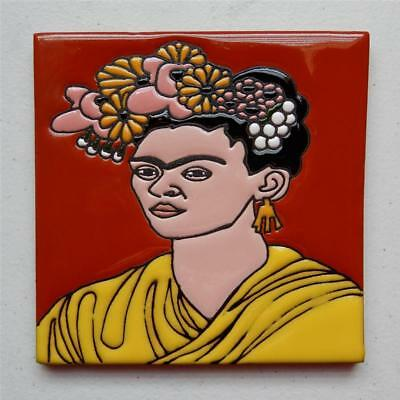"6X6 in Authentic Talavera Tile, ""Frida Kahlo"" Made in Puebla"
