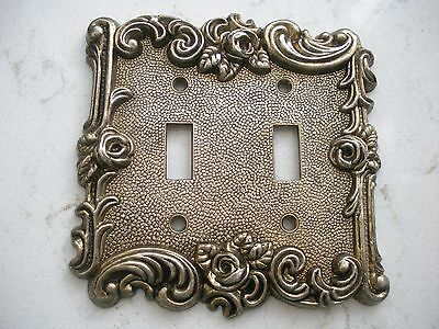 vintage double light switch cover rose metal American Tack 60TT gold tone 1967