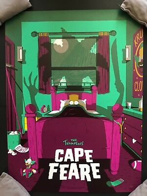 Florey The Simpsons Poster Bottleneck Gallery Art Print Cape Fear Variant