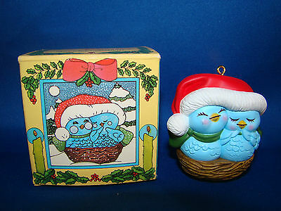 Avon Christmas Tree Ornament NESTLED TOGETHER 1982 Blue Birds in Nest @26