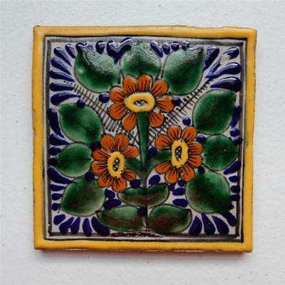 4.5X4.5 in Authentic Talavera Tile, Orange Flowers/ Yellow Border Made in Puebla