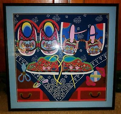 Framed Chinese Peasant Art Shoe Painting  Excellent Condition