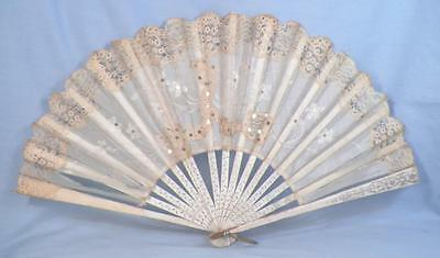Antique Folding Fan Hand White Silk Alencon Lace Painted Flowers Victorian As Is