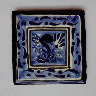 4X4 in Authentic Talavera Tile, Blue/White Flowers Frame Made in Puebla