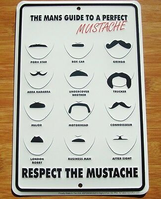 MANS GUIDE TO A PERFECT MUSTACHE Barber Shop Hair Salon Stylist Sign Decor NEW