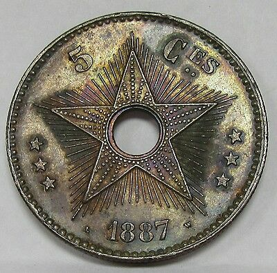 1887 Congo Free State 5 Centimes KM # 3 High Grade with Super Toning!