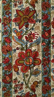 """FIRE SALE Antique French 1890 Jacobean 54x32"""" Textile Fabric 19thC Turkey Madder"""