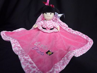 """Little Diva/Born to Shop Rattle Lovey Security Blanket Reversible Pink 14"""""""