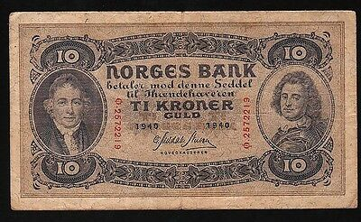 10 Kroner From Norway 1940 I