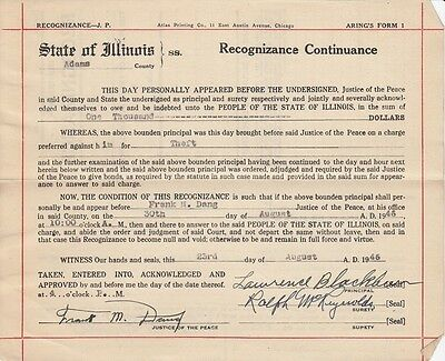 1946 Quincy IL Arrest Warrant and Recognizance Paperwork For Lawrence Blackburn