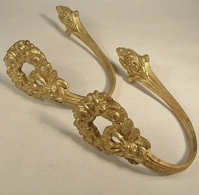 Antique Pair Gilt Bronze French Chateau Curtain Tie Backs Roses Floral