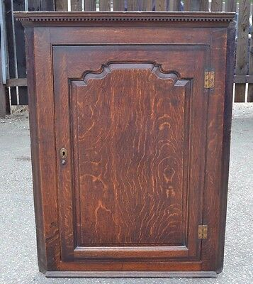 Lovely Large Antique Oak Corner Cupboard Wall Hanging Cabinet 18th Century