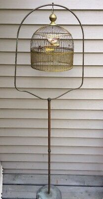 ANTIQUE Vintage HENDRYX Domed DECO 1930s  Birdcage, Stand, USA