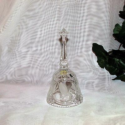 The Lord's Prayer Crystal Dinner Bell Frosted Hands Religious Gift Glass