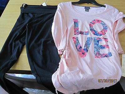 NEW w tags Oh Baby by Motherhood Legging AND Pink LOVE Top Sz S Small