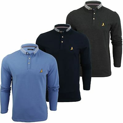 Mens Brave Soul Men's Hatter Long Sleeve Polo Shirt Golf Top
