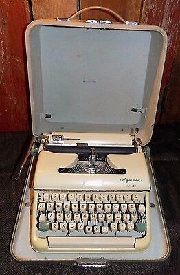 Vintage Olympia Monica Portable Manual Typewriter with Case Vtg