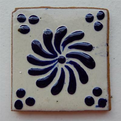 3X3 in Authentic Talavera Tile, Blue Flower Made in Puebla