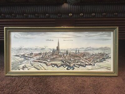 Antique 1642? Matthaus Merian  Etching Strasburg Argentina Map Framed