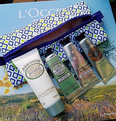 L'occitane Handcream, Body Lotion and Foot Cream Set In Pouch Cherry Blossom