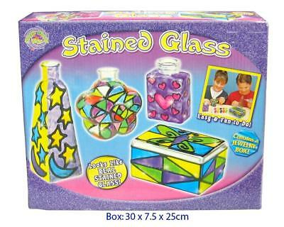 NEW Stained Glass Craft Kit Play Set - Includes 3 x Bottles, 1 x Trinket Box
