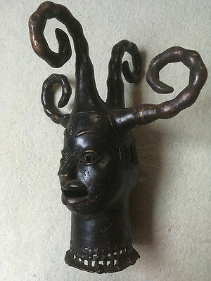African Bronze Ekoi Sculpture Benin RARE Janus Headdress Mask