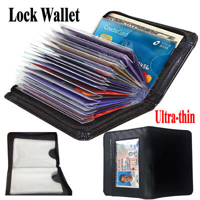 LOCK WALLET Slim RFID Black Fraud Blocking Protect RFID Wallets Card Holder