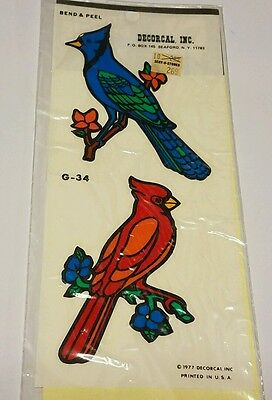 Vintage hand painted bird Decal DECORCAL G-34 vintage stickers bluejay cardinal
