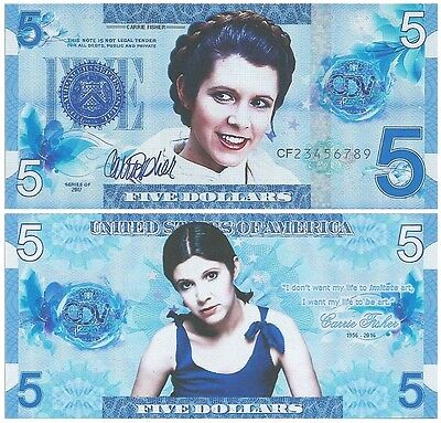 The United States - 5 Dollars - Carrie Fisher (2017) Fantasy Note *NEW*