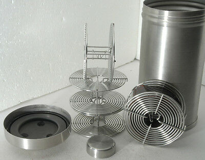 """stainless steel 7"""" film developing tank for processing up to four rolls of 35mm"""