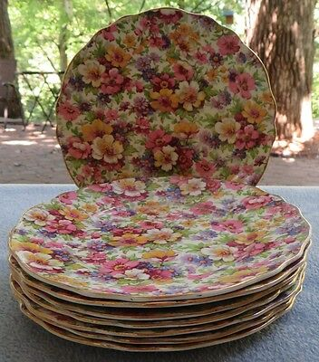 Set of EIGHT James Kent DuBarry Floral Chintz Bread Plates