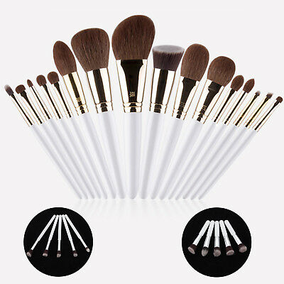 10pcs White Silver Kabuki Style Blusher Face Powder Foundation Make up Brush Set