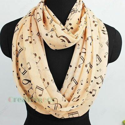 Womens Fashion Scarves Musical Note Print Ladies Soft Chiffon Infinity Scarf h2