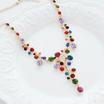 Womens Colorful Diamante Bib Collar Choker Chunky Pendant Statement Necklace h2