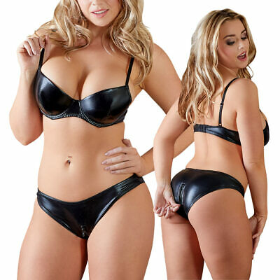 "Wetlook BH Set 2-Wege-Zip Lack Glanz Damen Slip Dessous 75 80 85 B C D ""Giorgia"""