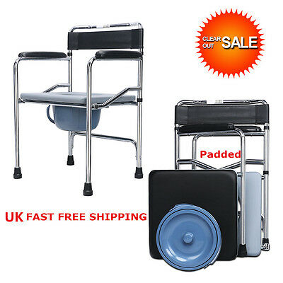 Superb 3in1 Folding Transport Bedside Commode Chair potty chair toilet bathroom