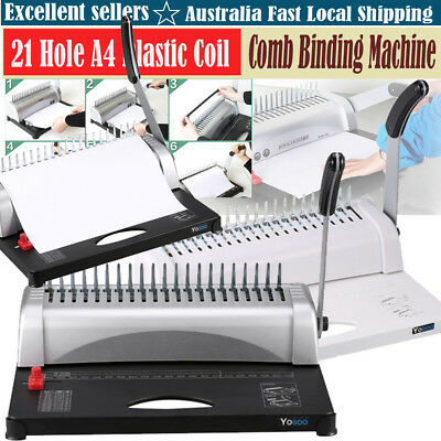 Professional Paper Comb Binding Machine 21 Hole A4 Plastic Coil Punch Binder DQ