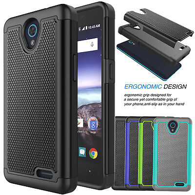FOR ZTE ZFIVE 2 /ZTE Prestige / Maven 2 Shockproof Hybrid Rugged Dual Layer  Case