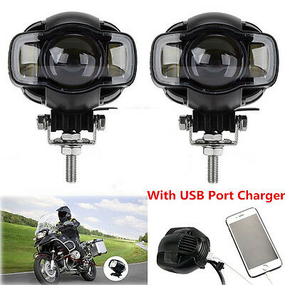 2x 20W CREE LED Motorcycle Driving Lamp DRL Spot Fog Lights w/ USB Phone Charger