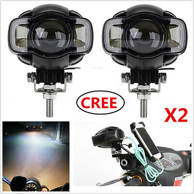2x USB Motorcycle Cree LED Driving Spot Fog Light DRL Headlight Lamps For Harley