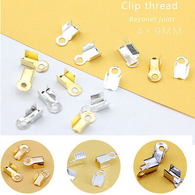 4x9mm Smooth Fold over end necklace cord Clasp crimps caps beads jewelry finding