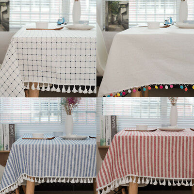 Rectangle Floral Hand Print Cotton Tablecloth Table Cover Indian Party Decor Set