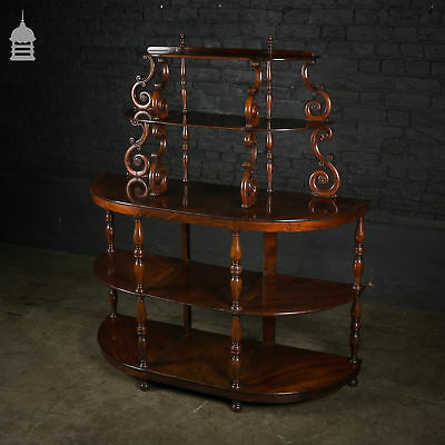 19th C Mahogany What-Not Display Stand with Rose and Scroll Detail