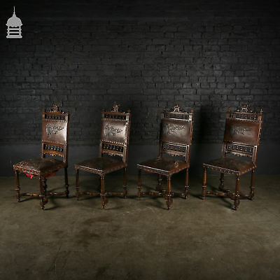Set of 4 Prestigious 19th C Carved Oak Chairs with Embossed Studded Leather Seat