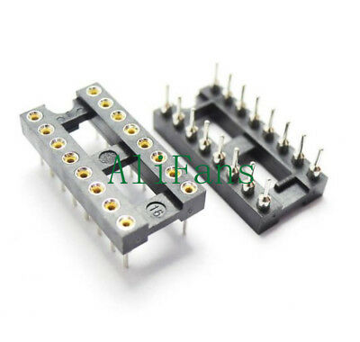 5PCS 16Pin DIP SIP Round IC Sockets Adaptor Solder Type Gold Plated Machined