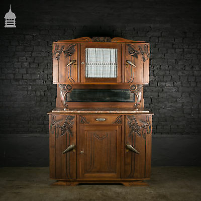 1940's French Oak Dresser with Rouge Marble Top and Key